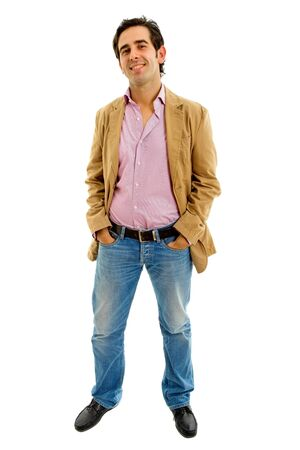 young casual man full body in a white background 스톡 콘텐츠