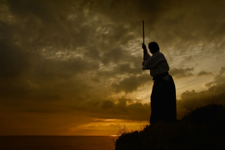 young aikido man fighter at sunset light photo