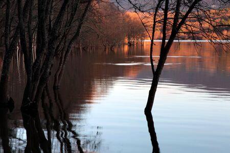 autumn flood at the lake at sunset, north of spain photo