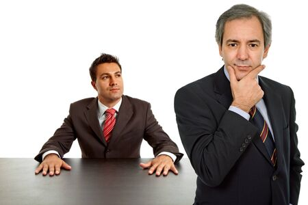 two business men boss and worker on a desk, isolated photo