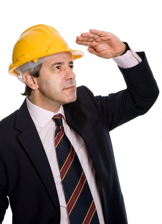 An engineer with yellow hardhat, isolated on white  Stock Photo - 6254226