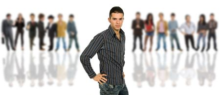 an young man in front of a group of people, isolated Stock Photo - 6368655