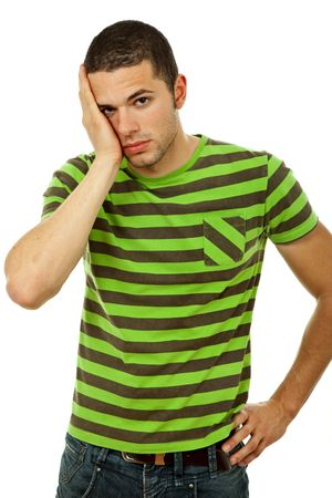 young casual man with a headache, isolated on white photo