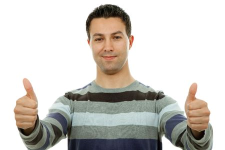 young casual man portrait in a white background going thumbs up Stock Photo - 6539504