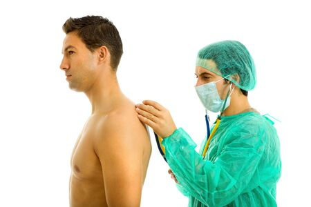 two young men in a medical exam, isolated on white Stock Photo - 6607902