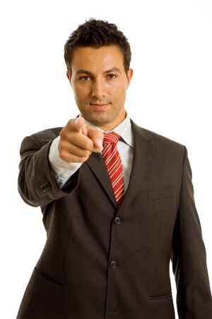 young business man in a suit pointing with his finger Stock Photo - 6619765