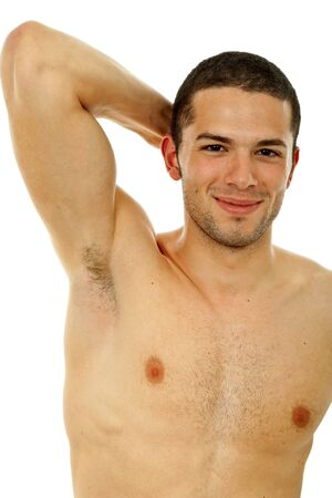young casual naked man isolated on white Stock Photo - 6656561