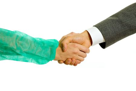 Business men and doctor hand shake in white background  스톡 콘텐츠