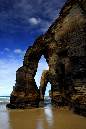 natural landmark: Galicia, Spain, Las Catedrales natural landmark at the coast Stock Photo