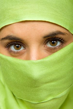 young woman with a veil close up portrait studio picture Stock Photo - 6820849