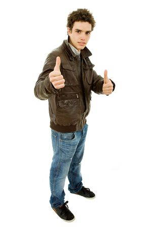 young casual man going thumbs up in a white background Stock Photo - 6820853