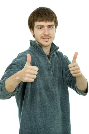 young casual man portrait in a white background going thumbs up Stock Photo - 6820887