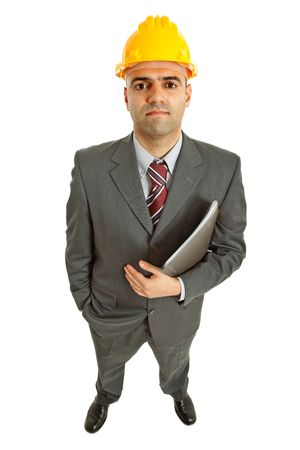 An engineer with yellow hat, isolated on white photo