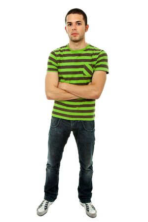 normal: young casual man full body in a white background Stock Photo