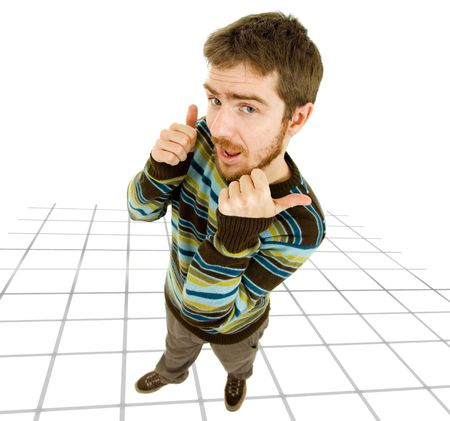 young silly casual man going thumbs up Stock Photo - 6963734
