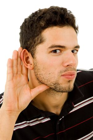 earing: young man with open hand, earing something