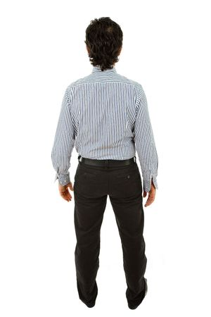 man rear view: young business man full body from back