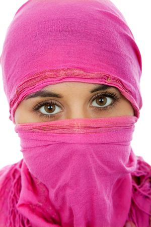 beautiful allah: young woman with a veil, close up portrait, studio picture Stock Photo