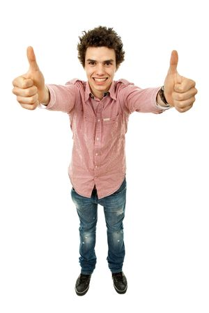 going up: young casual man going thumbs up in a white background