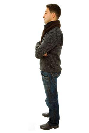 expression corporelle: jeune homme occasionnels corps dans un arri�re-plan blanc