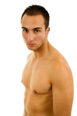 young sensual man on a white background