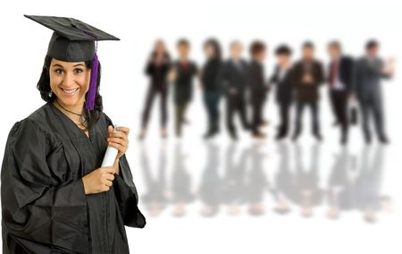 graduating: happy young woman on graduation day, with some people on the back Stock Photo