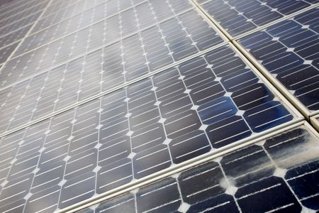 photoelectric: detail of photoelectric cells of a solar panel