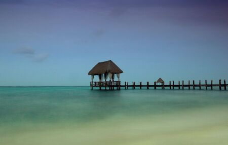 slow shutterspeed at the caribbean sea, Yucatan, Mexico photo