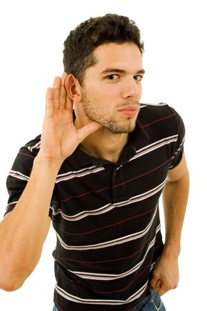 young man with open hand, earing something 스톡 콘텐츠