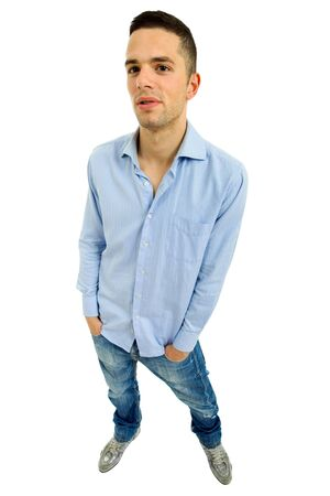 young casual man full body, isolated on white Stock Photo - 7835243
