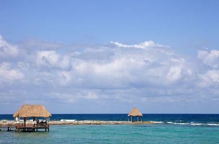 wooden dock at the caribbean sea at Yucatan Peninsula, Mexico photo