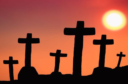 cross silhouette with the sunset as background Stock Photo - 7926644