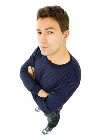 shy man: young casual man full body in a white background Stock Photo