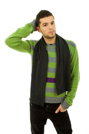 studio picture of a young man dressed for winter Stock Photo