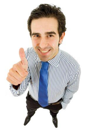 hombre de negocios va pulgar arriba, aislado en blanco  Foto de archivo - 7986311
