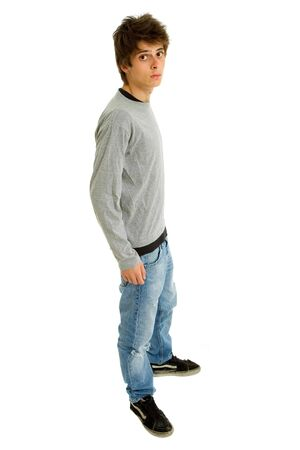 young casual man full body in a white background Stock Photo - 7986335