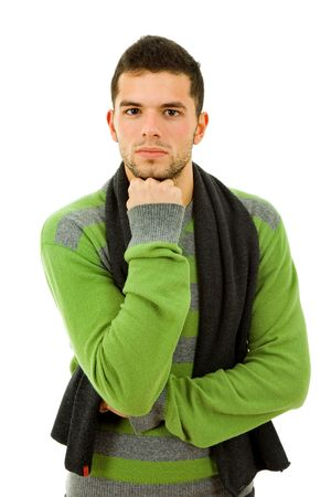 studio picture of a pensive young man, isolated on white Stock Photo - 7986303