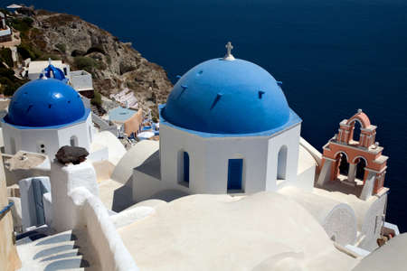 Thira view from the top at the island of Santorini, Greece  photo