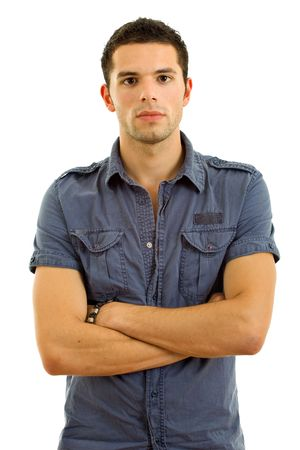 young casual man portrait in a white background Stock Photo - 8035790