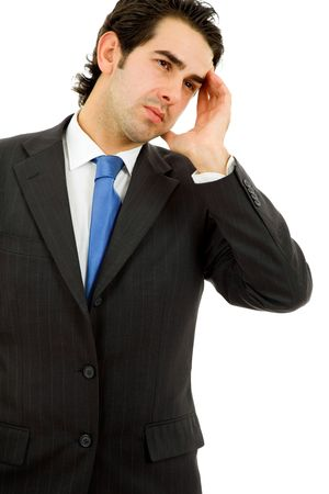 Businessman in a suit gestures with a headache Stock Photo - 8037391