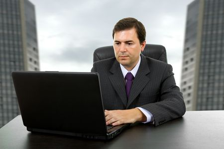 young business man working with is laptop Stock Photo - 8054271