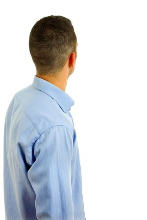 young casual man back in a white background   photo