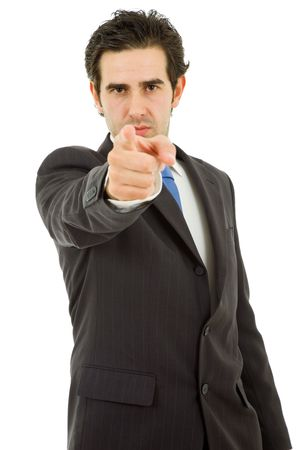 young business man in a suit pointing with his finger Stock Photo - 8115560