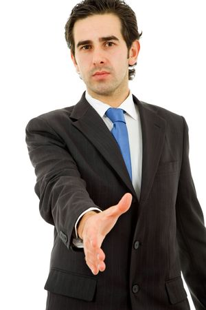 young man in suit offering to shake the hand Stock Photo - 8130160