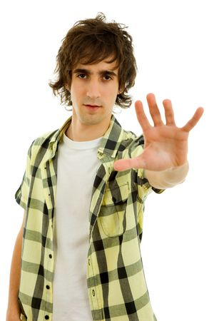 young man making stop with his hand photo