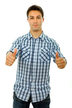 young casual man going thumbs up, isolated in a white background photo