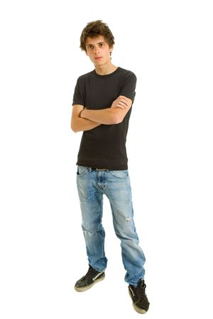young casual man full body in a white background Standard-Bild