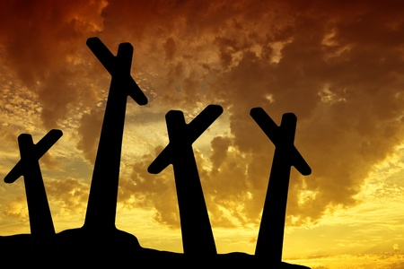 cross silhouette with the sunset as background Stock Photo - 8248159