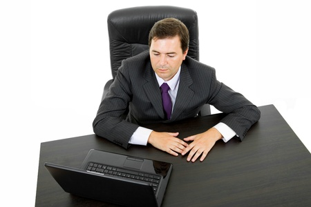 young business man working with is laptop, isolated photo