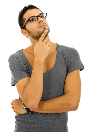 studio picture of a pensive young man, isolated on white Standard-Bild
